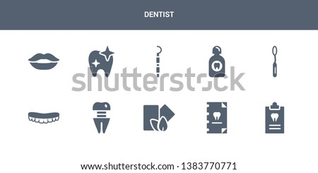 10 dentist vector icons such as medical prescription, medical record, mint gum, molar crown, mouth contains mouth mirror, mouth wash, periodontal scaler, shiny tooth, smiling. dentist icons