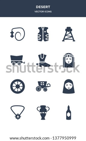 12 desert vector icons such as