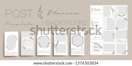 Design backgrounds for social media banner.Set of instagram stories and post frame templates. Vector stories cover. Mockup for personal blog or shop. Endless square puzzle layout for promotion. #1376303834