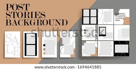 Design backgrounds for social media banner.Set of instagram stories and post frame templates.Vector cover. Mockup for personal blog or shop.Layout for promotion.Endless square puzzle.