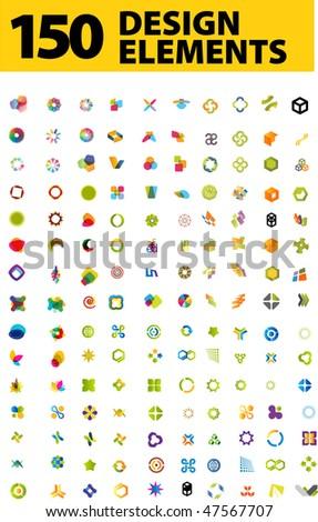 150 Design elements - stock vector