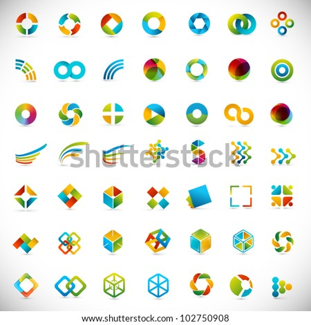 49 design elements - creative symbols collection - stock vector