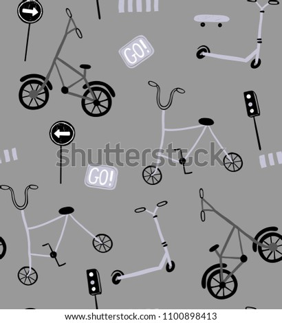 design for children bicycles pattern all over