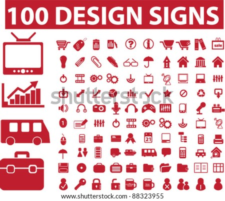 100 design icons set, vector