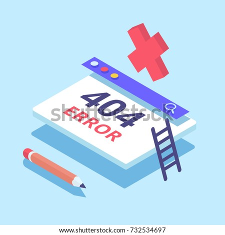 Design template for web page with 404 error. Flat isometric vector illustration.
