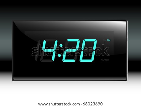 Designer black digital lcd alarm clock. Edit your own time.