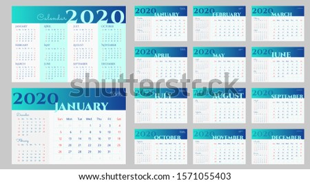 2020 desk calendar design in blue and white. Week starts on Sunday. Current month with previous and next ones. Simple calendar temlate with place for logo, website, vector 10 EPS