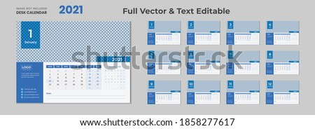2021 desk calendar with blue layout,Blue desk calendar 2021,New Desk Calendar 2021 template - 12 months included,Happy New Year 2021 Desk Calendar,Calendar for 2021 year.Week starts Sunday. Flat style