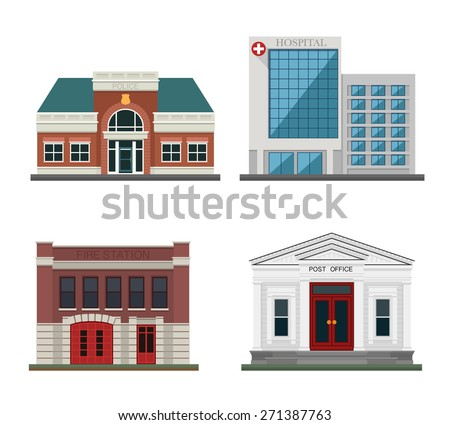 Detached houses on a white background frontally. Set the city.