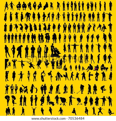 200 detailed human silhouettes