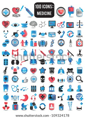 100 detailed icons for medicine - vector illustration