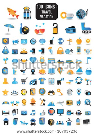 100 detailed icons for travel vacation recreation - vector icons