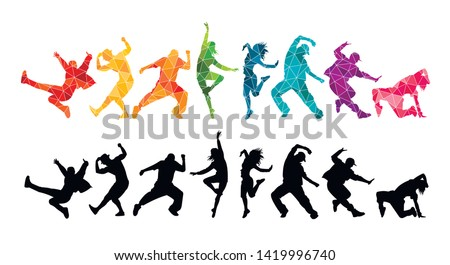 Detailed vector illustration silhouettes of expressive dance colorful group of  people dancing. Jazz funk, hip-hop, house. Dancer man jumping on white background. Happy celebration