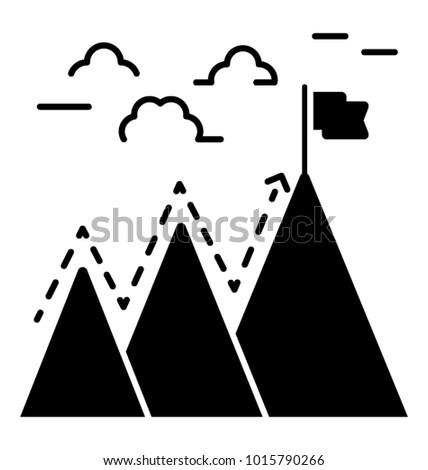 Determination glyph icon, perseverance