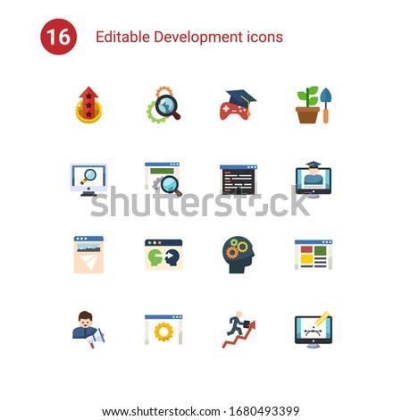 16 development flat icons set