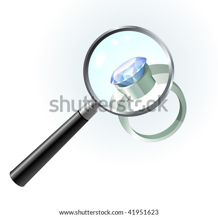 Diamond Engagement Ring under magnifying glass