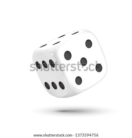 Dice. Dice with black dots on a white background. 3D effect Vector illustration. Photo stock ©