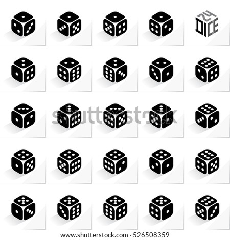 24 Dice in All Possible Turns Authentic Icons Set - Isometric Black Cubes with Light Pips on White Natural Paper Effect Background - Realistic Flat Graphic Stock photo ©