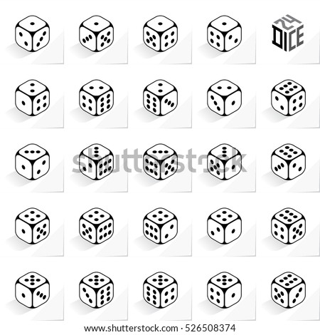 24 Dice in All Possible Turns Authentic Icons Set - Isometric Black Outlined Cubes with Dark Pips on White Natural Paper Effect Background - Realistic Flat Graphic Stock photo ©