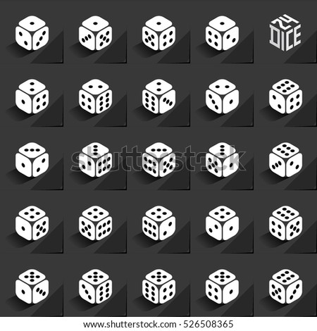 24 Dice in All Possible Turns Authentic Icons Set - Isometric White Cubes with Dark Pips on Black Natural Paper Effect Background - Realistic Flat Graphic Stock photo ©