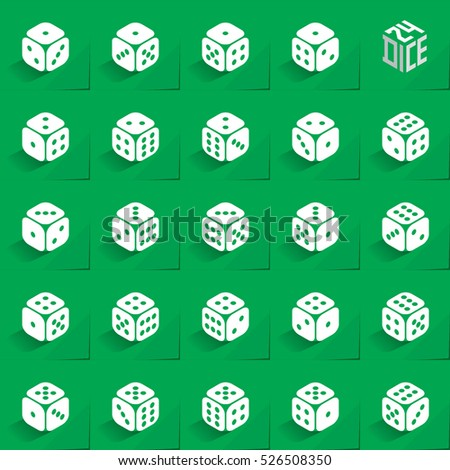 24 Dice in All Possible Turns Authentic Icons Set - Isometric White Cubes with Dark Pips on Green Natural Paper Effect Background - Realistic Flat Graphic Stock photo ©