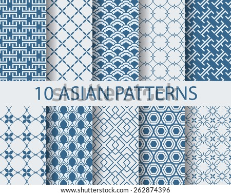 10 different chinese asian traditional seamless patterns, Swatches, vector, Endless texture can be used for wallpaper, web page, background, surface. vector illustration