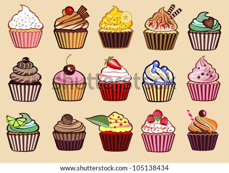 9 different colorful delicious cupcakes vector illustration