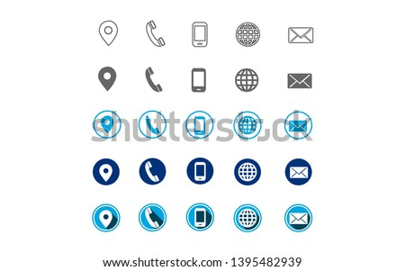 5 different contact information web icon, all 25 icons in vector format