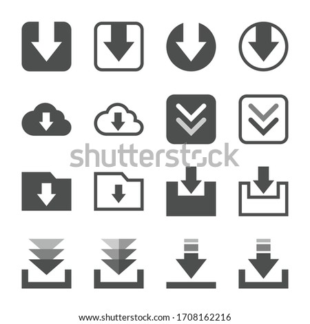 16 different data download icon set.