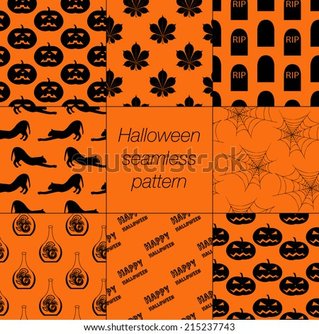 8 different Halloween seamless patterns