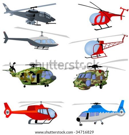 8 different helicopters. - stock vector