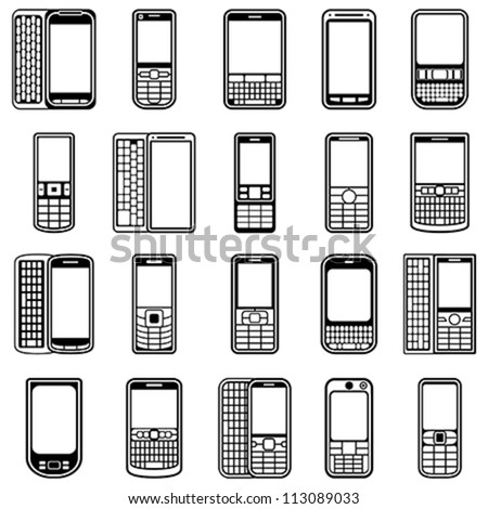 20 different highly detailed mobile vector icons for web. Easy to edit.