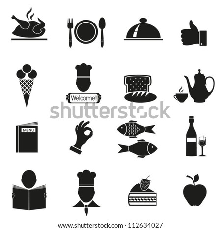 Different icons with food of black color.Vector. EPS-10 (non transparent elements,non gradient)