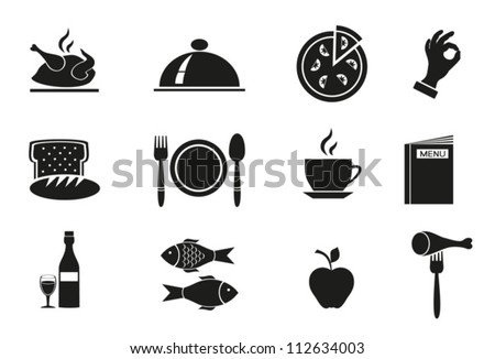 Different icons  with food on white background. Vector. EPS-10 (non transparent elements,non gradient)