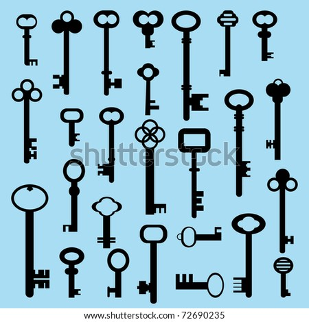 25 Different Keys Stock Vector Illustration 72690235 ...