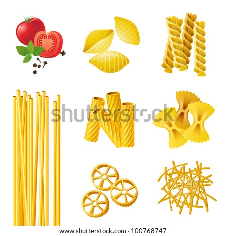 different pasta types eps 10