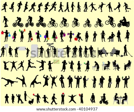 100 different people silhouettes