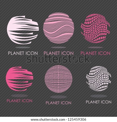 6 different planet icons