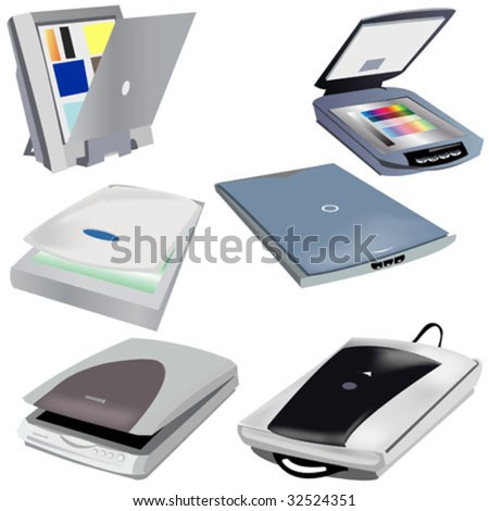 6 different scanners vector illustration images