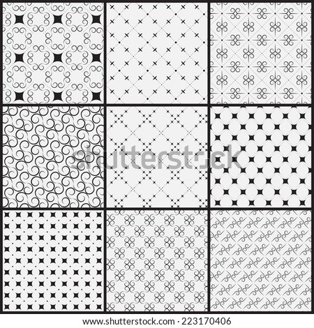 9 different seamless patterns.  vintage stylish  texture, can be used for wallpaper, pattern fills, web page background