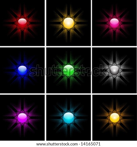 9 different shiny sun button effect halftone vector background design