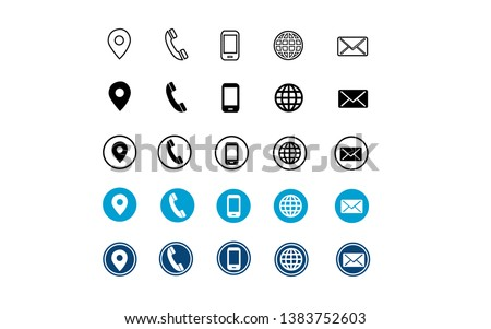 5 different style contact information icon set all are 25 icons in vector format