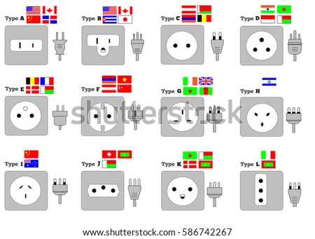 Different Type Power Socket Set Electric Outlet Illustration For Country Plugs Vector