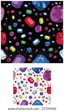 2 different versions of seamless jewel backgrounds - vector illustrations