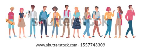 Different young people group cartoon characters set. Colour vector illustration