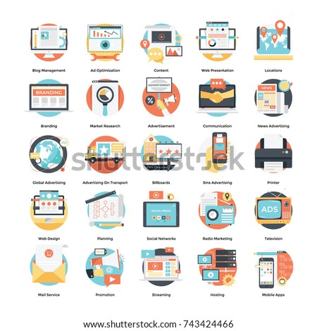 Digital Ad Campaign and Internet Marketing Icons Set