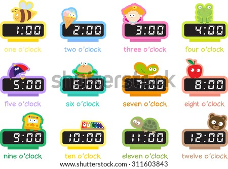 12 digital clocks showing every