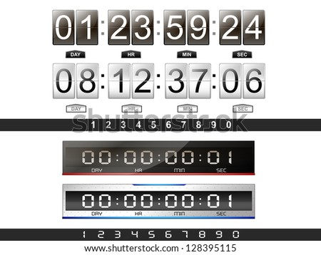 4 digital countdown timer in the vector