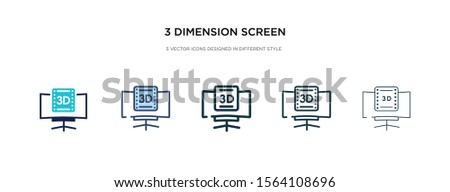 3 dimension screen icon in different style vector illustration. two colored and black 3 dimension screen vector icons designed in filled, outline, line and stroke style can be used for web, mobile,