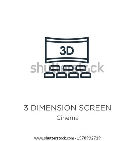 3 dimension screen icon thin